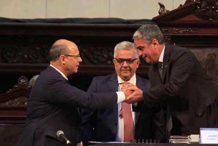 Wilson Witzel e André Ceciliano na posse