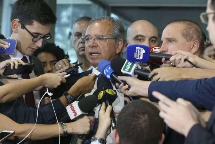 Os ministros Paulo Guedes e Onyx Lorenzoni falam sobre reforma da Previdência