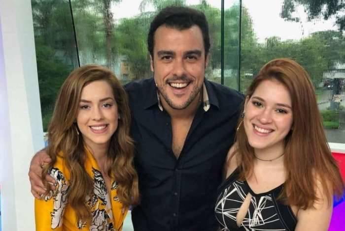 Apresentadores do programa 'Vídeo Show' Sophia Abrahão, Joaquim Lopes e Ana Clara