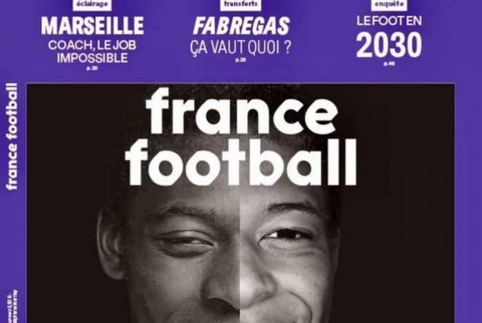 Revista traz na capa uma montagem de Pelé quando jovem e Mbappé