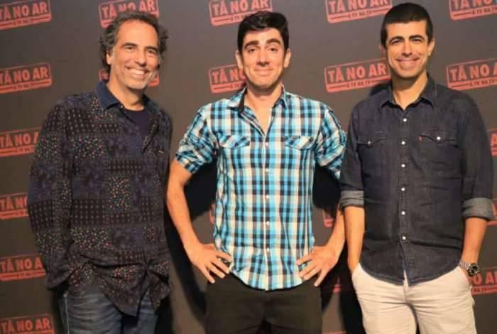 Maurício Farias, Marcelo Adnet e Marcius Melhem durante evento sobre o programa 'Tá no Ar: A TV na TV'