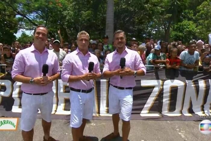 Caio Ribeiro, Paulo Nunes e Ivan Moré no Globo Esporte de São Paulo