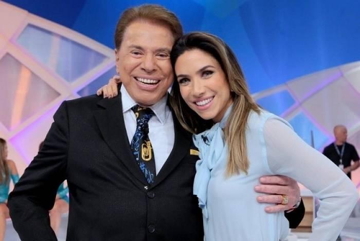 Silvio Santos e Patrícia Abravanel durante programa no SBT