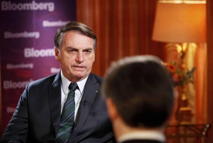 Presidente da República, Jair Bolsonaro, durante entrevista para Bloomberg.