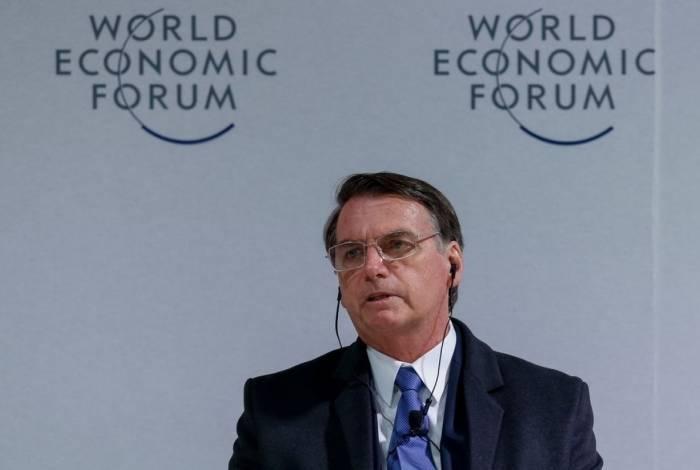 O Presidente da República, Jair Bolsonaro,durante reunião do Conselho Internacional de Negócios no  Fórum Econômico Mundial em Davos.