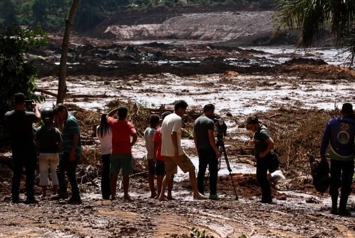 Local destruído pelos rejeitos após o rompimento da barragem da mina do Feijão, em Brumadinho, Minas Gerais