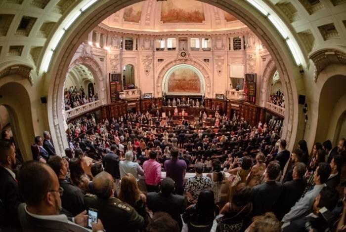 Cerimônia de posse dos parlamentares da Assembleia Legislativa do Rio no dia 1º de fevereiro