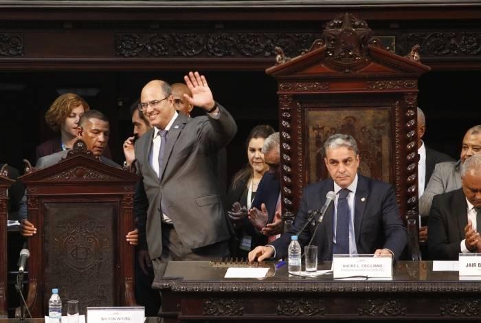 O governador Wilson Witzel na cerimônia de posse dos deputados estaduais na Alerj, em fevereiro