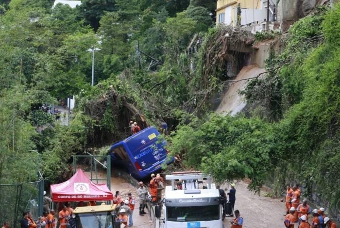 Temporal causou danos na cidade do Rio de Janeiro. Na Avenida Niemeyer, que liga os bairros do Leblon e São Conrado, deslizamento atingiu um ônibus, que acabou tombando sobre a ciclovia na encosta da pista