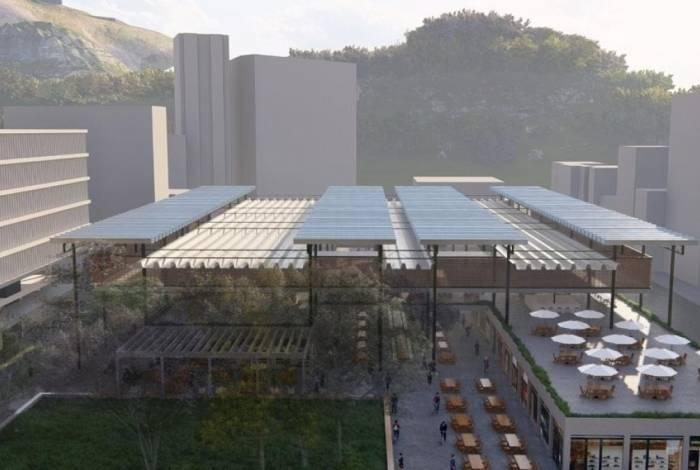 O projeto prevê a recuperação da estrutura existente e a construção de novas lojas, além de um novo paisagismo