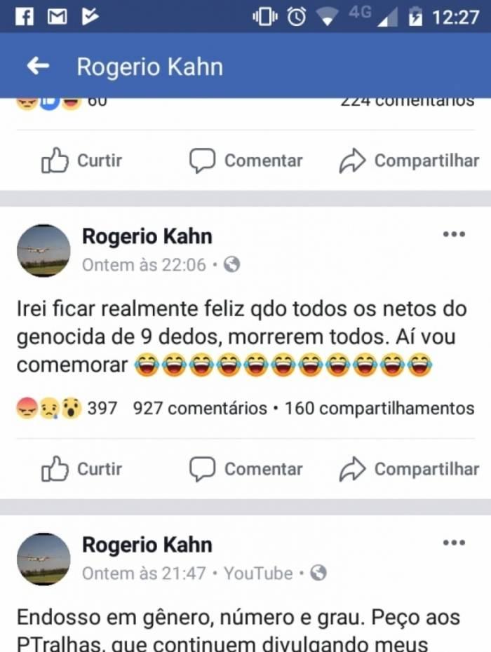 As mensagens divulgadas no Facebook do advogado Rogério Kahan