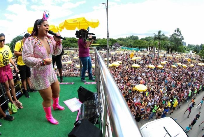 Preta Gil em apresentação do 'Bloco da Preta' em São Paulo