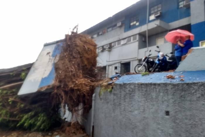Árvore cai e atinge Hospital da Polícia Militar