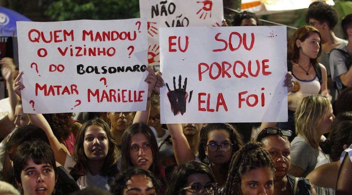 Marielle Franco e seu motorista, Anderson Gomes, são lembrados em ato na Cinelândia