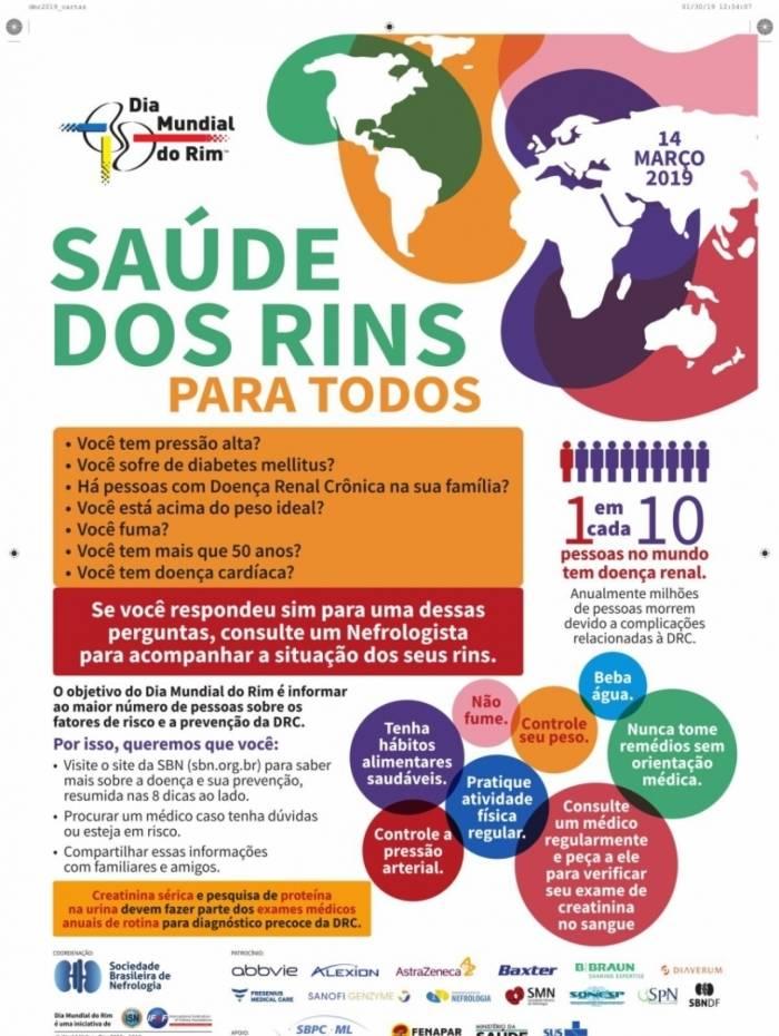 Cartaz da campanha alerta para a prevenção de doença renais