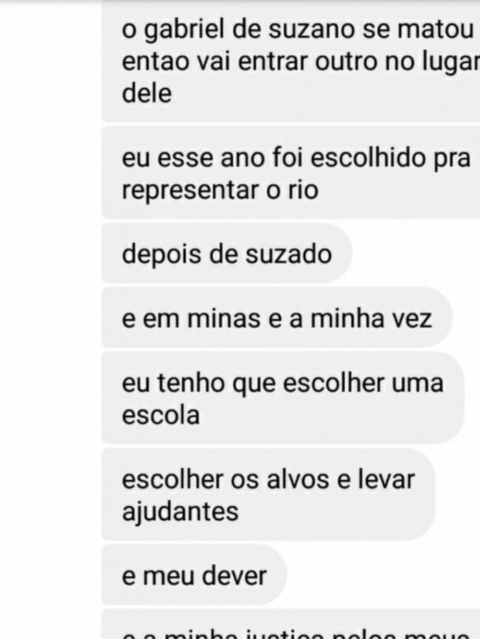 Em conversa, jovem diz ser representante do Rio para cometer novo atentado