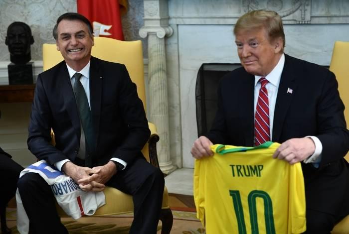 Presidentes Jair Bolsonaro e Donald Trump, em encontro no início do ano