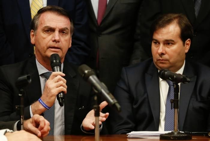 Presidente da República, Jair Bolsonaro, e presidente da Câmara, Rodrigo Maia