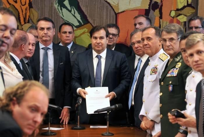 O presidente Jair Bolsonaro entregou, em março, a proposta de reforma de militares à Câmara dos Deputados
