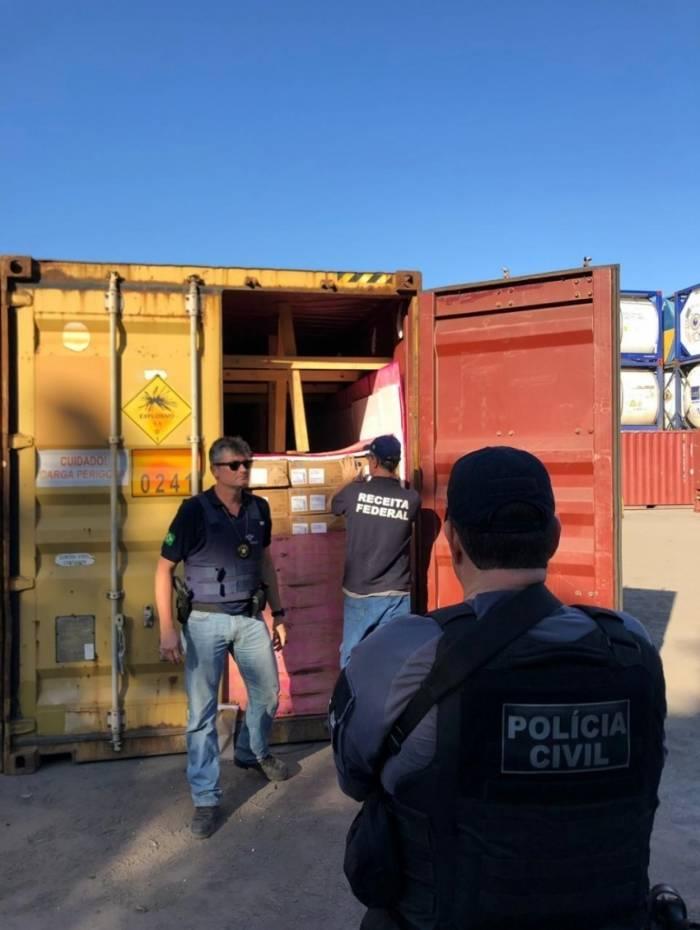 Material foi encontrado em galpão de transportadora