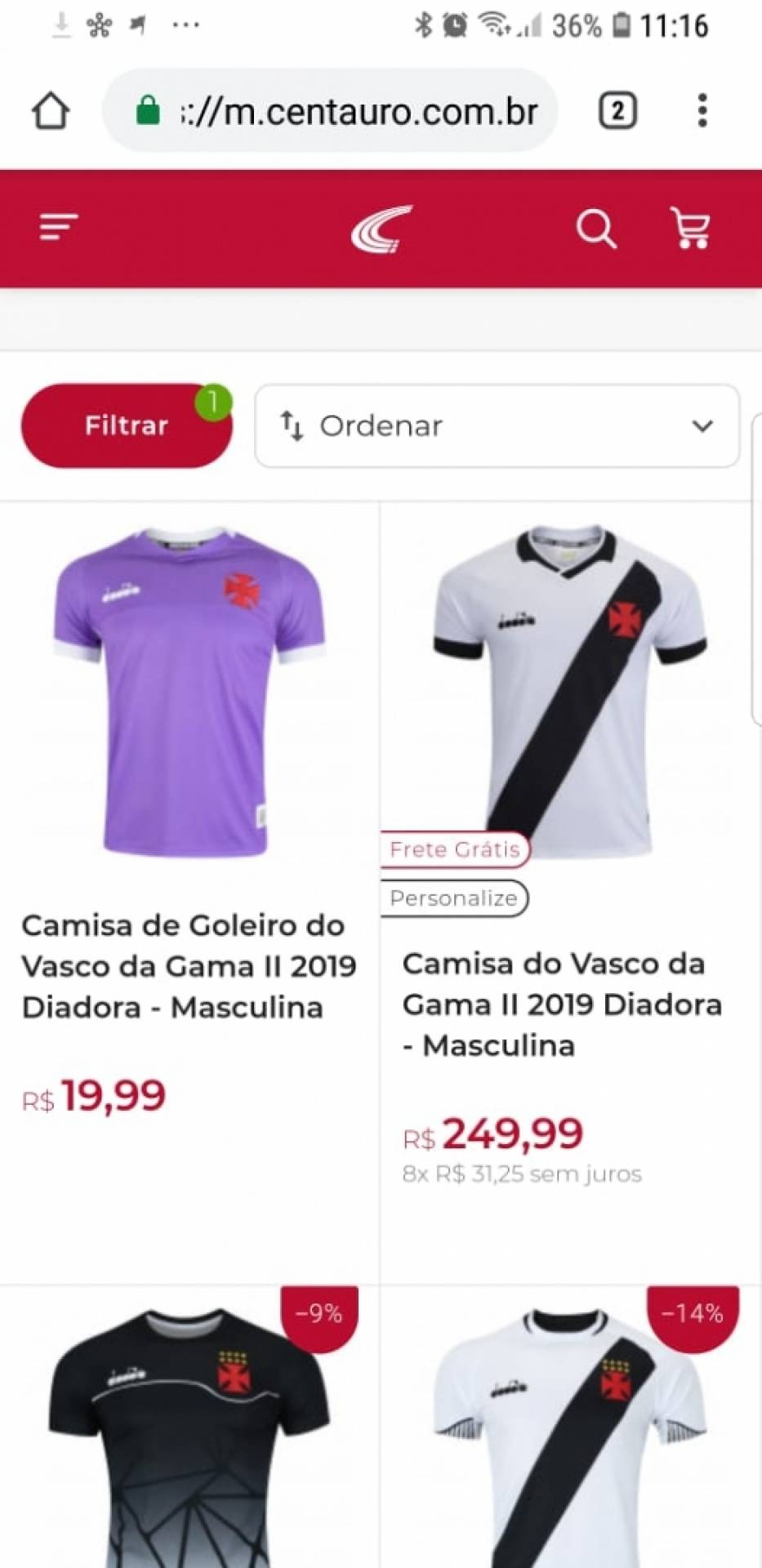 d806213c07 Loja de material esportivo comete erro em valor de camisa do Vasco -  Reprodução