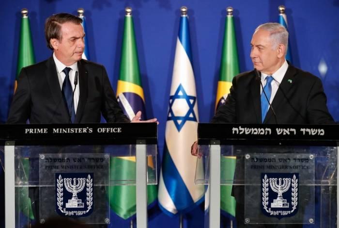 O presidente da República, Jair Bolsonaro, e o primeiro-ministro de Israel, Benjamin Netanyahu, durante declaração conjunta em Jerusalém