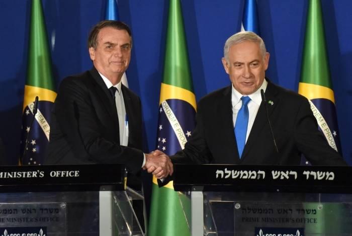 Bolsonaro e Netanyahu se cumprimentam em Jerusalém