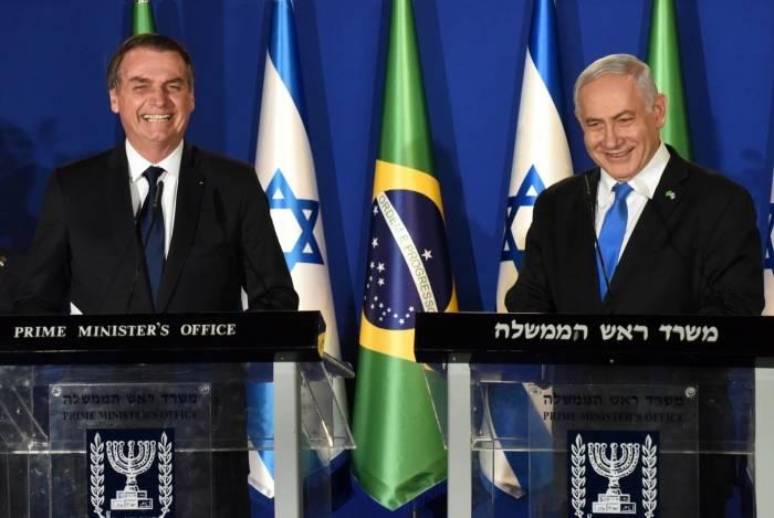 Jair Bolsonaro se encontra com o primeiro-ministro, Benjamin Netanyahu, em Israel