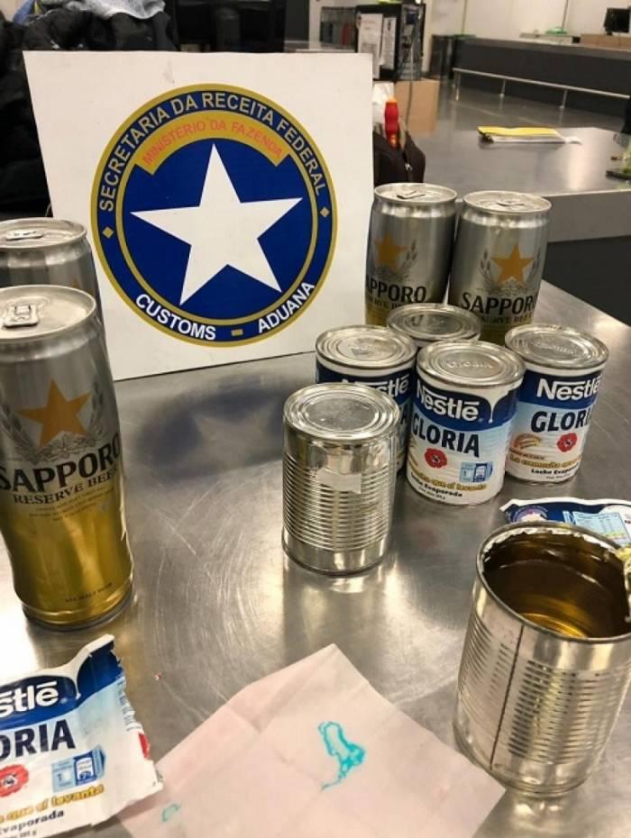 Cocaína líquida estava em latas de leite condensado e de cerveja