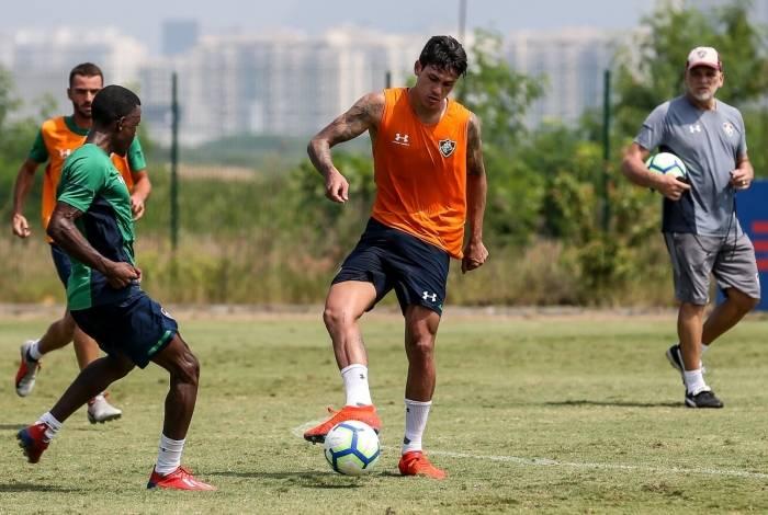 Pedro no treino do Fluminense