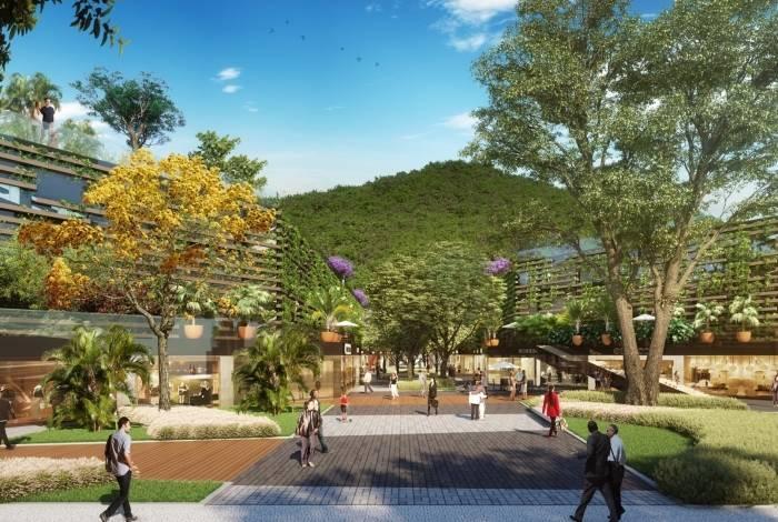Perspectiva do projeto batizado de 'Bosque da Gávea' mostra área arborizada e salas comerciais, às quais a população terá acesso