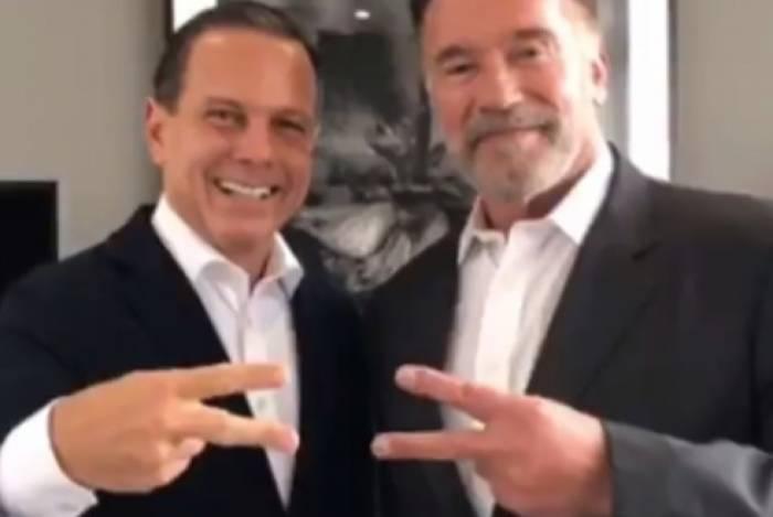 João Doria recebeu o ator Arnold Schwarzenegger em São Paulo