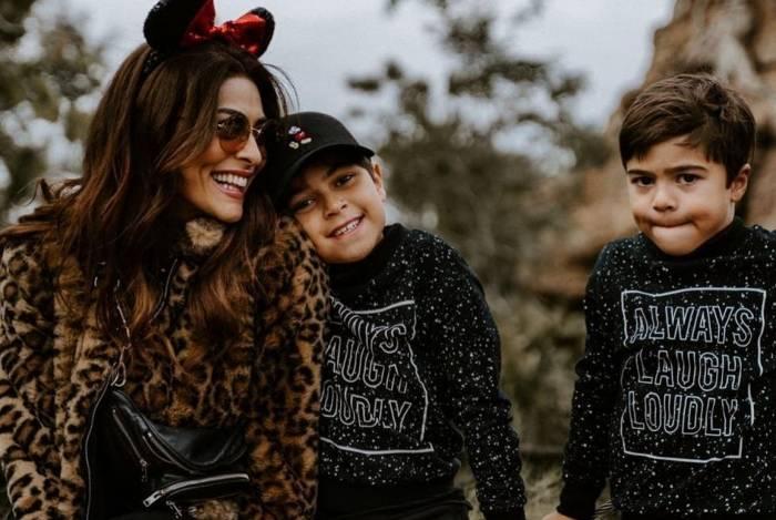 Com os filhos Antônio e Pedro