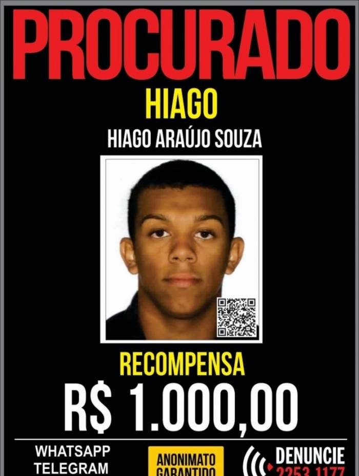 Hiago é procurado por participar do assassinato de Francisco na madrugada do dia 25 de fevereiro