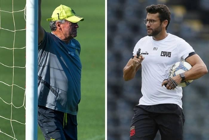 Abel Braga, técnico do Flamengo (à esquerda), e Alberto Valentim, técnico do Vasco (à direita), têm amanhã, no Maracanã, a oportunidade de responder a seus críticos