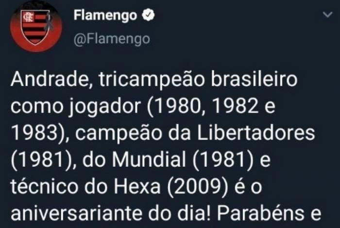 Flamengo comete gafe ao parabenizar Andrade