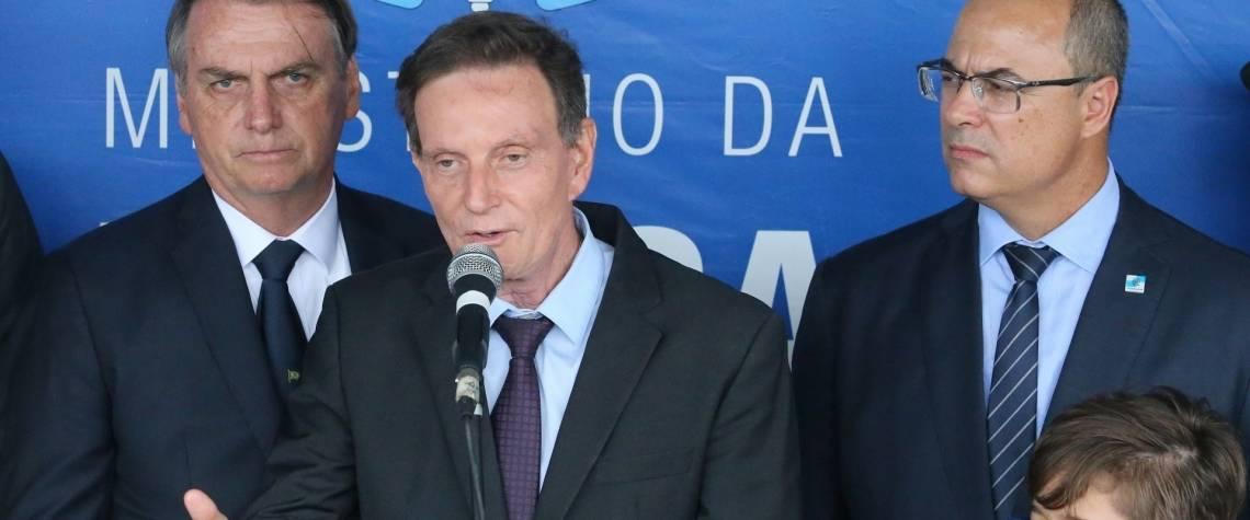 Bsolsonaro (à esquerda), Crivella e Witzel