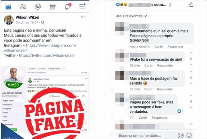 Governador Wilson Witzel denunciou página fake em seu nome