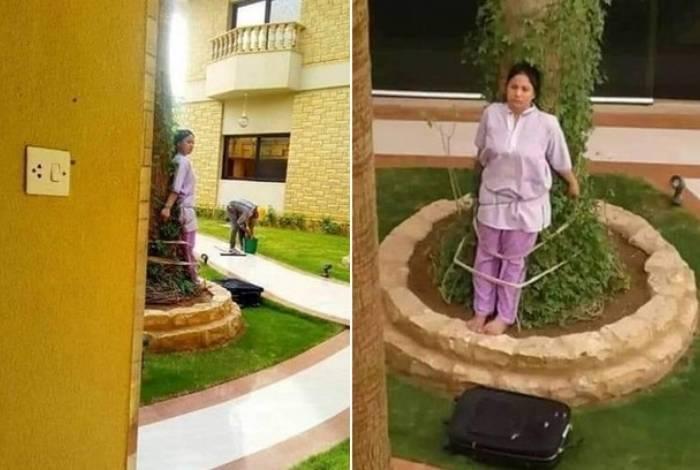 Empregada é amarrada a uma árvore na Arábia Saudita, como punição por ter falhado na limpeza da casa dos patrões