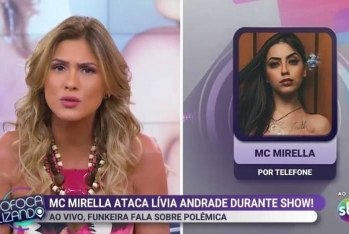 Lívia Andrade e MC Mirella discutem no 'Fofocalizando'