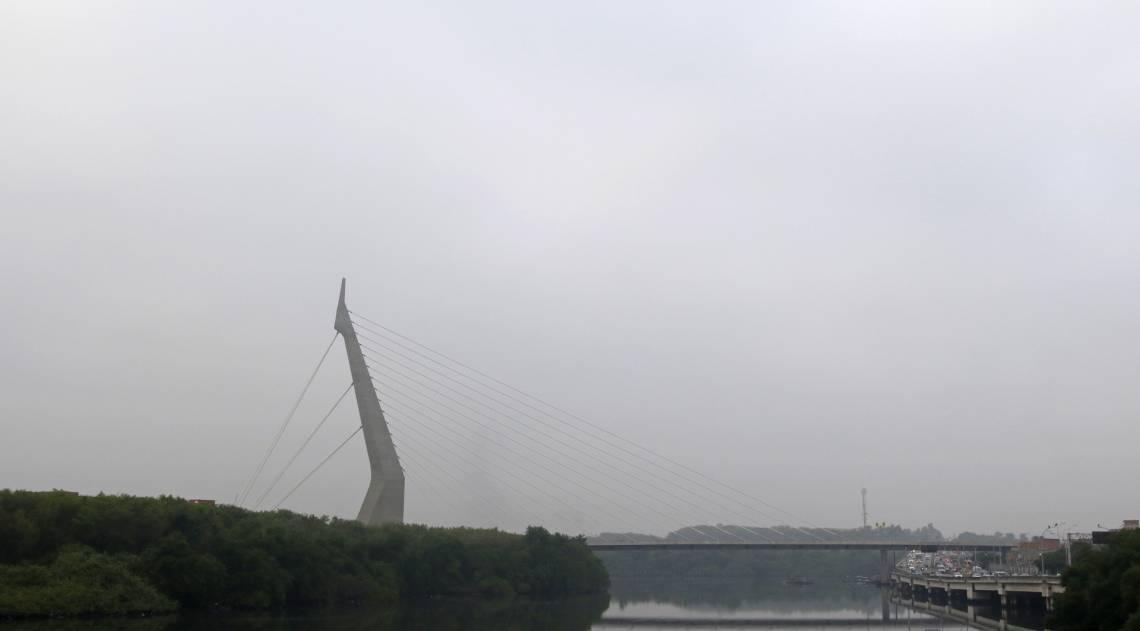 Na Linha Vermelha, na altura da Ilha do Fundão, a névoa úmida também foi percebida
