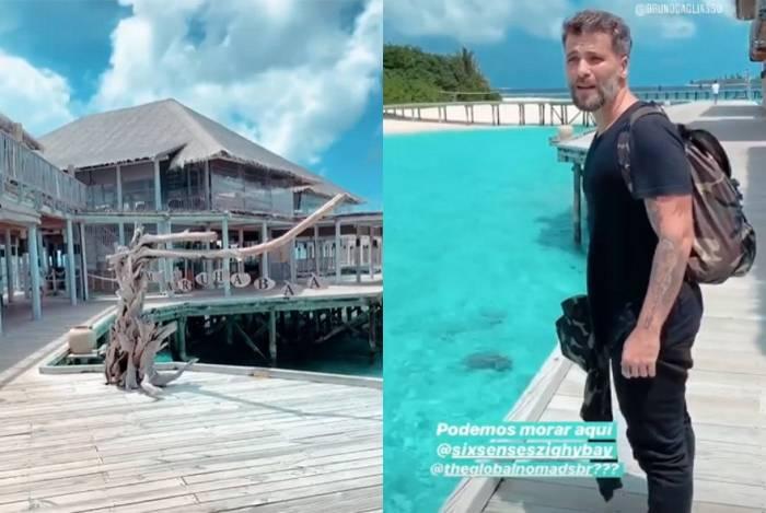 Bruno Gagliasso e Giovanna Ewbank estão curtindo férias nas Ilhas Maldivas