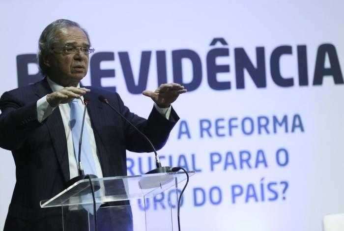 Ministro da Economia, Paulo Guedes, fez palestra na abertura do seminário Previdência: 'por que a reforma é crucial para o futuro do país?'