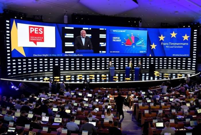Candidato dinamarquês Margrethe Vestager da Aliança dos Democratas e Liberais pela Europa (ALDE) discursa durante eleições para as eleições parlamentares europeias
