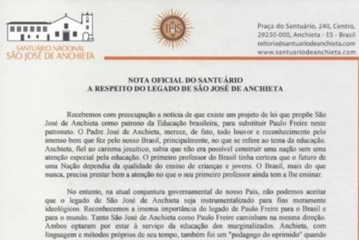 Nota faz duras críticas a proposta que propõe Padre Anchieta no lugar de Paulo Freire como patrono da Educação