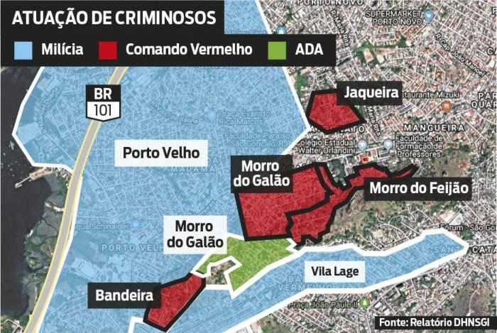 Infográfico mostra territórios disputados por criminosos
