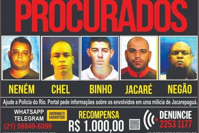 Disque Denúncia pede informações sobre milicianos da quadrilha de Orlando Curicica