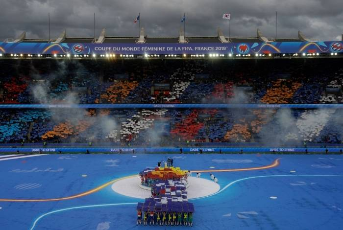 General view of the opening ceremony ahead of the France 2019 Women's World Cup Group A football match between France and South Korea, on June 7, 2019, at the Parc des Princes stadium, in Paris. (Photo by Kenzo TRIBOUILLARD / AFP)