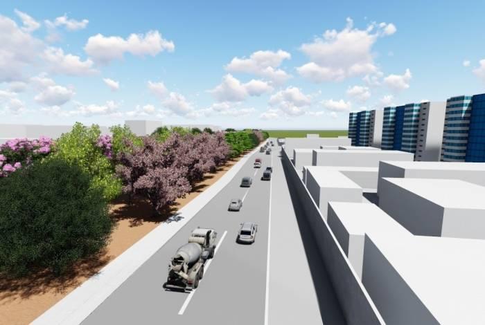 Simulação do projeto Corredor Verde mostra como ficará a via após o plantio de 137 mudas de árvores, entre elas Angico, Ingá e Paineira Rosa