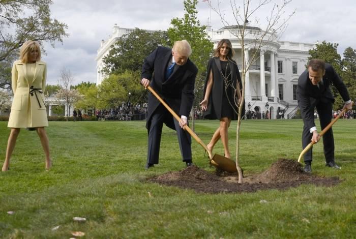 Presidente dos Estados Unidos, Donald Trump, e o presidente francês, Emmanuel Macron, plantaram árvore em 23 de abril de 2018